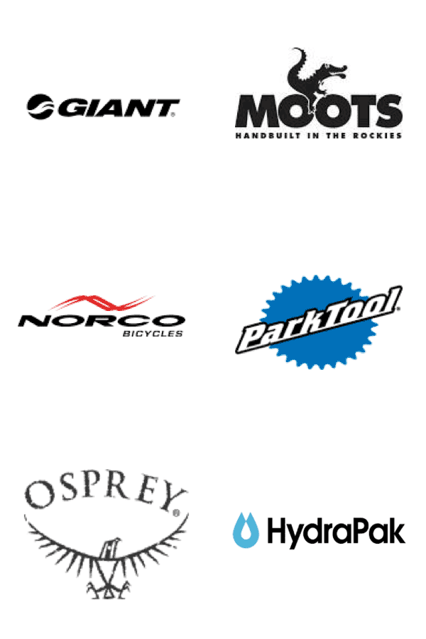 Brands we carry: Giant, Moots, Norco, ParkTool, Osprey, and HydraPak