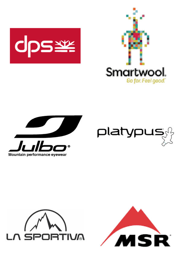Brands we carry: DPS, Smartwool, Julbo, Platypus, LA Sportiva, and MSR