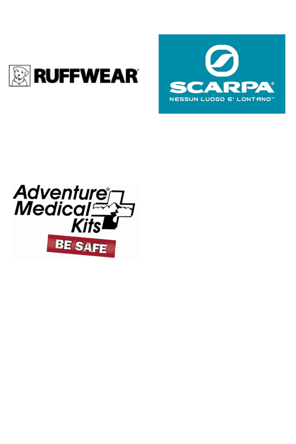 Brands we carry: Ruffwear, Scarpa, and Adventure Medical Kits